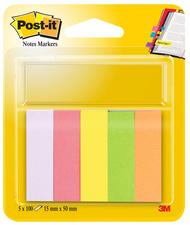 5 blocs de 100 marque-pages format 15x50mm coloris assortis