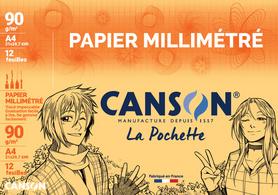Papier millimétré, A4, 90 g/m2, couleur: bleu