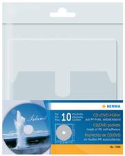 pochette autocollante pour 1 CD/DVD, en PP,