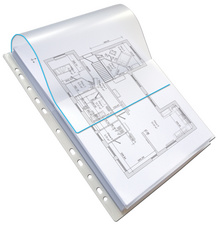 Sachet de 10 pochettes-plan avec rabat en polypro 20/100. Format A4, 11 trous.