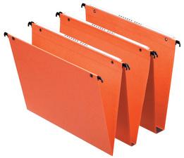 Boîte de 25 dossiers suspendus DUAL TIROIR en kraft 240g. Fond 15, volet agrafage. Orange