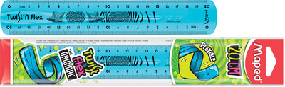 Règle plate TWIST 'N FLEX 20cm - Coloris assortis : bleu, vert, rose