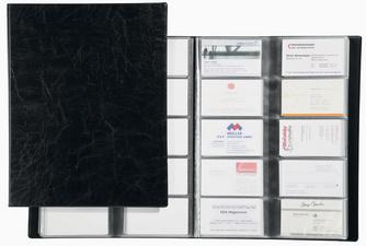 Porte-cartes Visifix album pour 192 cartes de visite aspect grain de cuir Noir - L115 x H253 mm