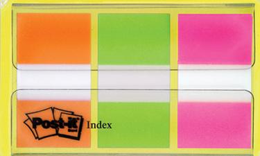 Marque-pages standard, set de 3 x 20 coloris orange, vert, rose. Format : 2,54 x 4,4 cm