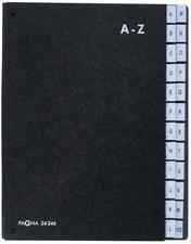 Trieur alphabétique noir int papier recyclé. 24 compartiments (A-Z). Format 26,5x34cm