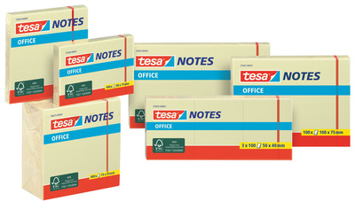 Bloc standard adhésif Office Notes, 125 x 75 mm, jaune