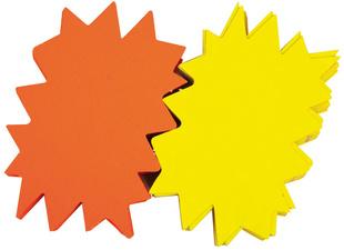 Paquet de 25 étiquettes pour point de vente en carton fluo jaune/orange forme éclaté 16 x 24 cm