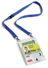 Boîte 10 Porte-badges évènementiel A6 avec lacet textile Duo Bleu foncé