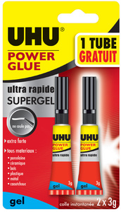 Colle instantanée POWER GLUE ultra rapide SUPERGEL, 3 g