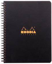 Cahier spirale couverture noire PP 16x21cm 160 pages lignée 6mm perforées 4 trous