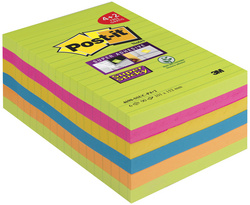 Bloc-note Super Sticky Notes, 101 x 152 mm, ligné