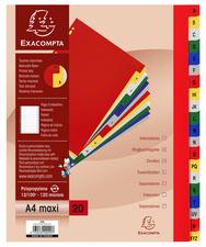 Jeu d'intercalaires alphabétiques en polypropylène. 20 touches multicolores. Format A4+.